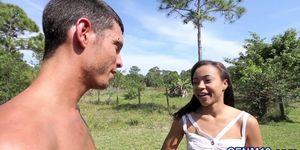 CFNM ebony teen gets booty spermed outdoors