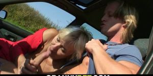Hitchhiking blonde granny rides his young cock