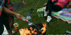 COLLEGE FUCK PARTIES - College babe fucked outdoors next to lake