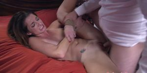 Tiedup slut with big tits gets fucked anally