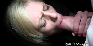 Stranger fucks blonde in public