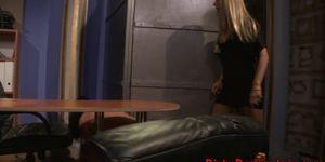 Lezdom mistress punishing restrained sub