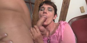 MYWIFESMOM - Cock-hungry girlfriends mom riding his huge dick