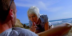 White-Haired Babe Is Insatiable At The Beach