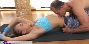 FitnessRooms Ivana Sugar has a full body and pussy stretch with fitness trainer