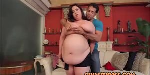 Chubby brunette pounded doggy style
