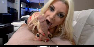 Big Tits MILF Gives Stepson A Blowjob in POV