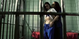 Jail lesbians fingering and pussy licking