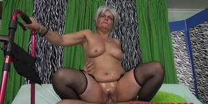 Big ass granny gets dicked from behind by a young pervert