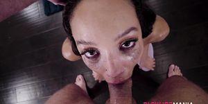 Mouth fucked ebony babe gets wam in saliva