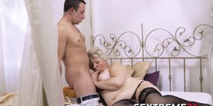 Fat grandma doggystyled and jizzed on her big tits