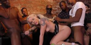 Blonde Teenager Takes Black Cocks