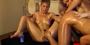 Foursome lesbians toying and inspecting ass with a speculum