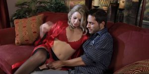 Sexy blonde babe Sunny Lane sucks and rides lucky guy