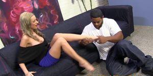 Footjob babe sucks toes