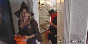 Blonde Witch MILF Bang Teens At Halloween