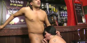 Busty brunette plumper fuck for job in the bar