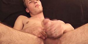 Handsome amateur vigorously tugs himself before big cumshot