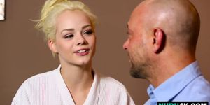 Bald dude gets a happy ending from hot blonde