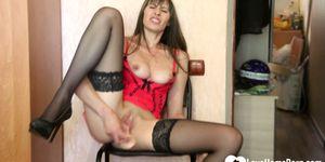 LOVEHOMEPORN - Horny stepmom in stockings uses a dildo