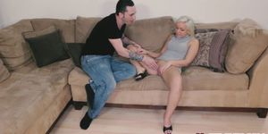 Horny babe Cleo Vixen playing with huge massive dick