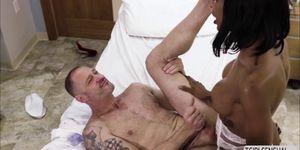 Ebony ts Natassia Dreams rides a hard cock up her ass