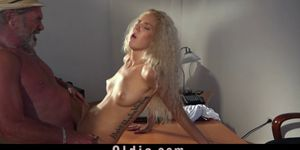 Sexy young blonde fucks grandpa swallows cumshot Porn Videos