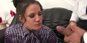 Submisive babe Anita throathed and jizzed Porn Videos