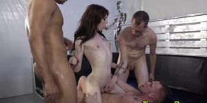 Tgirl has double anal and gets facial
