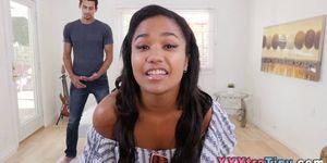 Small Ebony Teen Spermed