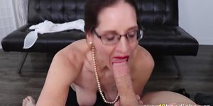 Old slut jerking and sucking long cock