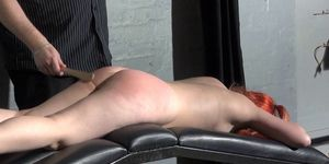 Spanking of Tiny amateur slavegirl in leather dungeon fetish and corporal punishment of british submissive