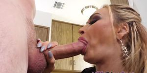 Glam milf gobbles big cock and gets spermed