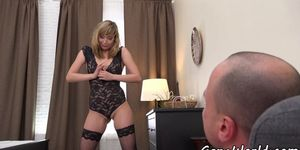 Gaping Euro teases her lover with her big ass