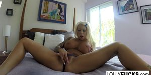 Tattooed Lolly records herself pleasing her tight pussy