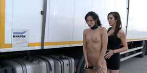 Brunette Fucked at Truck Parking