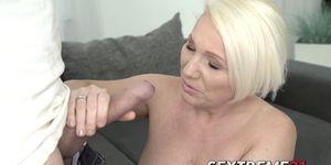 Voluptuous granny deserves big facial with cock riding act