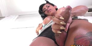 Buxom lonely shemale toys her ass
