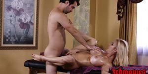 Busty cougar Alexis Fawx enjoys a dick riding massage