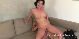 Horny female agent fucks muscled amateur guy