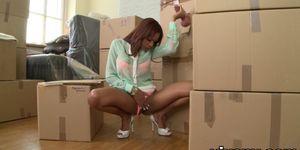 Hot Latina Katia finds a cock in a box