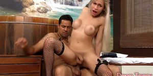 Hot blonde shemale gets her asshole plugged bareback and cumshot