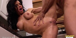 Hot Brunette Is Cum Hungry In The Kitchen!