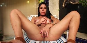 Busty beauty Nicolly Lopes working on her big fat dick