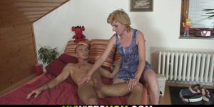 Small tits blonde mother-in-law helps him cum