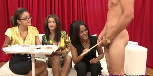 Ebony party babes applaud black guy