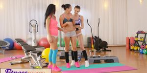Fitness Rooms Two naughty young girls threesome with older gym teacher