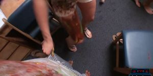 Dorm room paint party with college teens turns into orgy