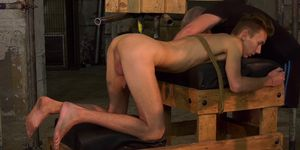 Restrained submissive jerked off by old master Sebastian