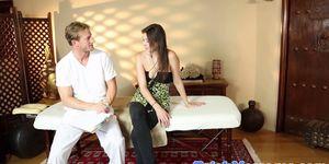 Massage babe sprayed with masseurs cum